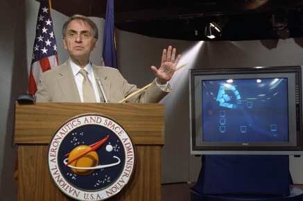 Astronomer Carl Sagan Speaks at a news conference where NASA made available the last pictures taken by Voyager 1, which show the solar system as viewed from the outside.